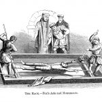 Vintage engraving from 1876 showing a man being tortured on the Rack. The rack is a torture device consisting of a rectangular, usually wooden frame, slightly raised from the ground, with a roller at one, or both, ends, having at one end a fixed bar to which the legs were fastened, and at the other a movable bar to which the hands were tied.